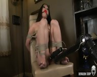 Tied Brunette Gets Fucked By Fucking Machine
