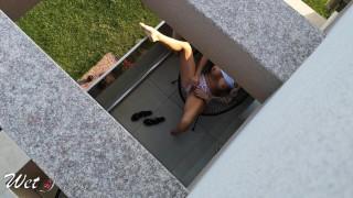 Caught my neighbors daughter masturbating on her balcony. WetKelly